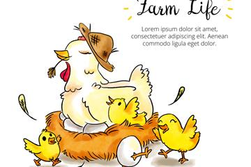 彩绘农场鸡窝里的母鸡和鸡仔矢量图