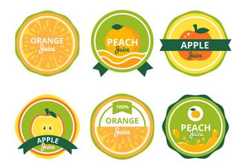 6款彩色水果汁徽章矢量素材