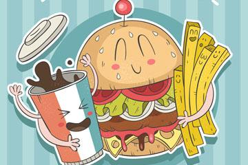彩绘美味汉堡包可乐薯条贴纸矢量