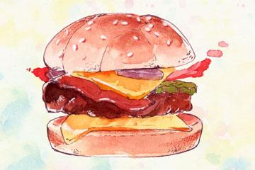 水彩绘汉堡包设计矢量素材