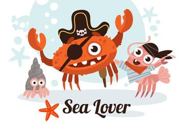 3个卡通海盗装扮海洋动物矢量图