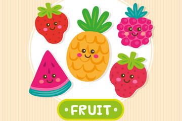 5个可爱笑脸水果矢量素材