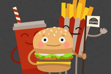 可爱汉堡包套餐设计矢量素材