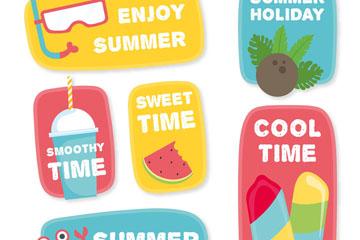 6款创意夏季假期标签矢量素材