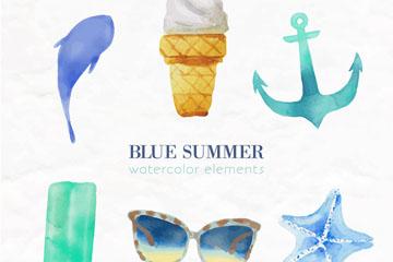 6款水彩绘蓝色夏季元素矢量素材