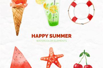 6款快乐夏季元素矢量素材