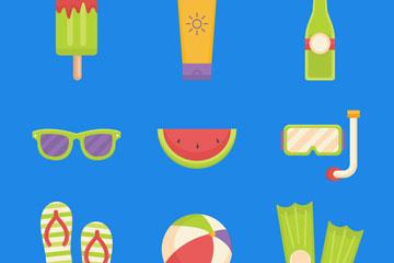9款扁平化夏季度假图标矢量素材