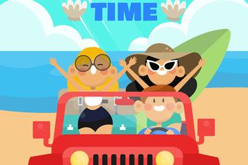 创意夏季沙滩上开吉普车的人物矢量图