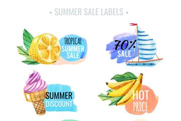 6款水彩绘夏季销售标签矢量图