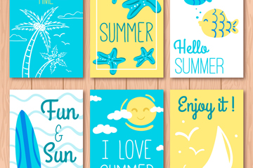 6款彩绘蓝色夏季卡片矢量素材