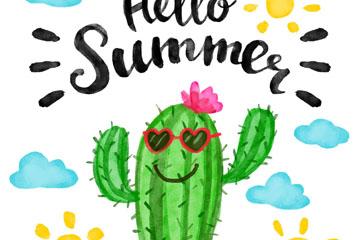 水彩绘夏季笑脸仙人掌矢量素材