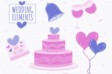 8款彩绘紫色婚礼元素矢量素材