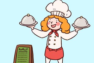 彩绘端菜肴的金发女厨师矢量图