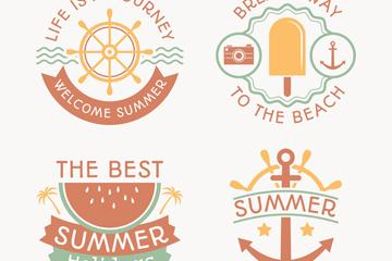 4款创意夏季沙滩度假标签矢量图