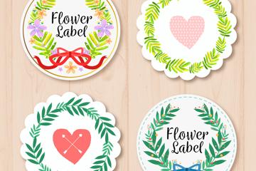 4款彩色圆形花环标签矢量素材