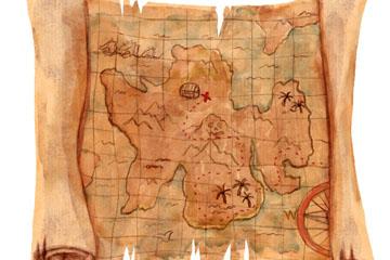 复古纸质藏宝图设计矢量素材