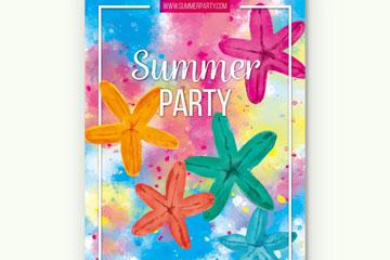水彩绘海星夏季派对海报矢量图