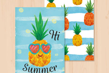 彩绘夏季菠萝卡片正反面矢量图