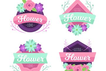 4款创意花卉标签矢量素材