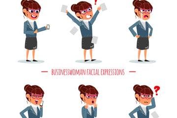 6款创意表情商务女子矢量素材