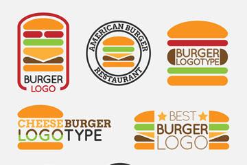 8款彩色汉堡包标志矢量图