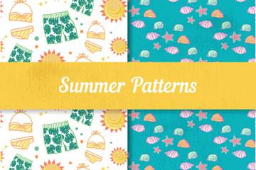 2款彩绘夏季服饰和贝壳无缝背景矢量图