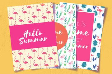 3款彩绘夏季火烈鸟卡片矢量齐乐娱乐