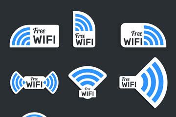 9款蓝色免费无线网标签矢量图