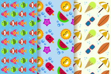 3款彩色夏季鱼食物和度假元素无缝背景矢量图