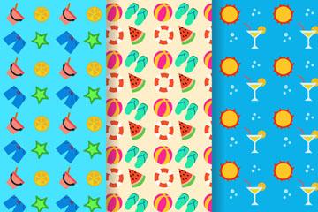 3款彩色夏季沙滩度假元素无缝背景矢量图