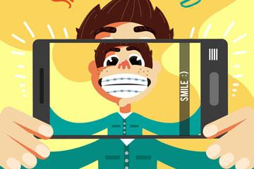 创意手机自拍笑脸男子矢量图