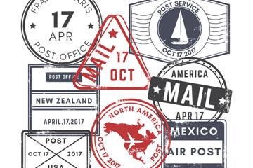 8款复古邮戳设计矢量素材