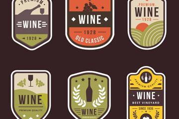 6款复古葡萄酒标签矢量素材