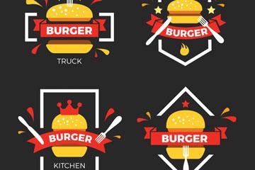 4款精美汉堡包标志矢量素材
