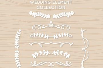 10款白色婚礼花边设计矢量图