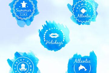 5款蓝色水彩绘夏季标签矢量图