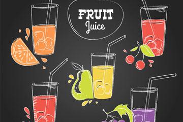 5款彩绘水果和杯装果汁矢量图
