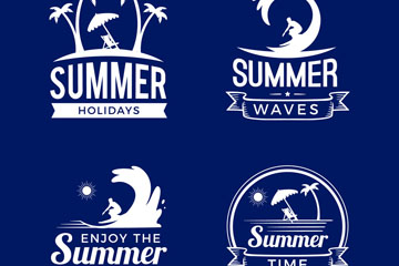 4款白色精致夏季度假标志矢量图