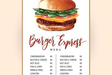 彩色汉堡包单页菜单设计矢量素材