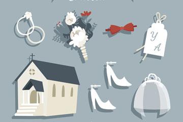 7款创意带阴影的婚礼元素矢量素材