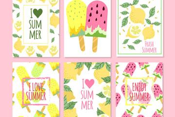 6款彩绘夏季柠檬和雪糕卡片矢量图