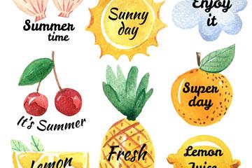 8款水彩绘夏季艺术字元素矢量图
