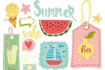 10款彩绘夏季吊牌和食物矢量素材