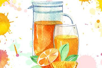 水彩绘橙子橙汁和杯具矢量素材