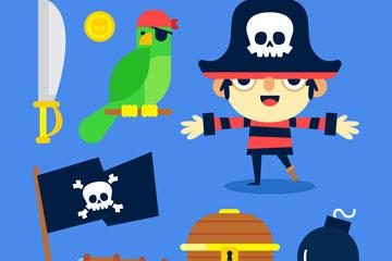 8款扁平化海盗元素矢量素材