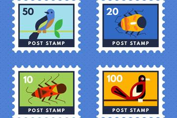 4款创意鸟和昆虫邮票矢量素材