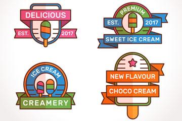 4款彩色扁平化雪糕标签矢量素材