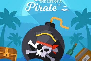 创意大海上的海盗炮弹和宝箱矢量图