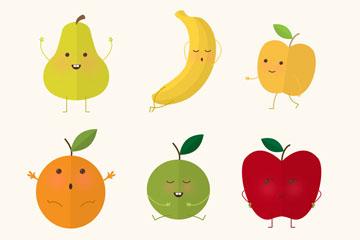 6款扁平化表情水果设计矢量图