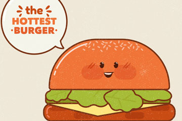 彩绘热卖表情汉堡包矢量素材